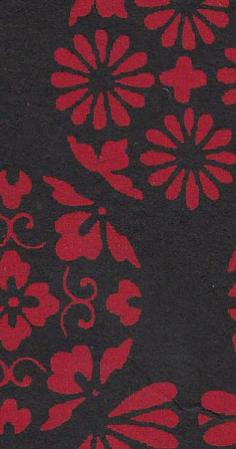 Motif floral traditionnel fond noir